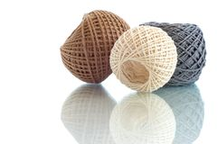 Three balls of rope. Three  balls of twine on a white background Stock Images