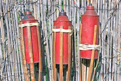 Three bamboo fire torch Royalty Free Stock Photography