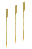 Three bamboo skewers on white Royalty Free Stock Photo