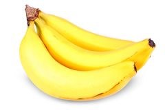 Three bananas in a bunch,  Royalty Free Stock Images