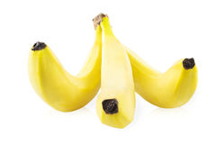 Three bananas in a bunch Royalty Free Stock Photos