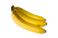 Three bananas isolated on white Royalty Free Stock Photography