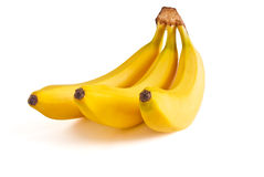 Three bananas. Ripe, fragrant and delicious three bananas isolated on white background Stock Photo