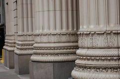 Three Bank Building Columns, Portland, Oregon. These are three decorated bank building columns in downtown Portland, Oregon Stock Images