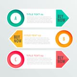 Three banner infographic options Stock Photography