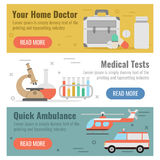Three banner for medical help. Vector horizontal three banners for medical help in flat style with buttons. Your home doctor, medical tests and quick ambulance Royalty Free Stock Images