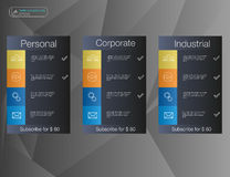 Three banner, price list, interface for the site.  banner for web app. Royalty Free Stock Photo