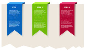 Three banners. Three color banners with sample text Stock Photos