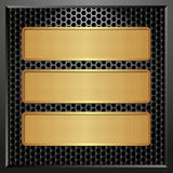 Three banners. Black panel with three golden banners Stock Images