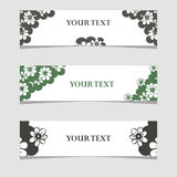 Three banners with black and white flowers Stock Images