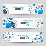 Three banners with blue geometric elements. Royalty Free Stock Images