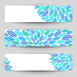 Three banners with blue leaves. Stock Photography