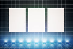 Three banners with blue light Royalty Free Stock Image
