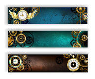 Three banners with clock Royalty Free Stock Photography