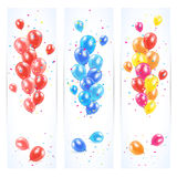 Three banners with colorful balloons. And confetti, Birthday background, illustration Stock Photography