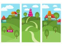 Three Banners With Colorful Small Town Stock Image