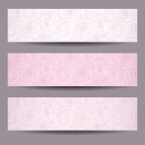 Three banners with contours of roses. Stock Photo