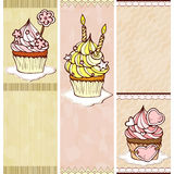 Three banners with cupcakes Stock Image