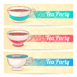 Three banners with a cups of tea Royalty Free Stock Images