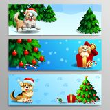Three banners with cute dog on blue. The three banners with cute dogs of Border Collie, Cocker Spaniel and Welsh Corgi with wood landscape, fir-tree, gift and Royalty Free Stock Photography