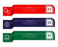 Three banners of different colors. With text and numbers Stock Images