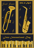 Three banners with different musical instruments for Jazz International Day. Three banners with different musical instruments: piano, trumpet and saxophone for Stock Photography