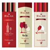 Three banners with different wine Stock Image