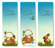 Three banners with Easter backgrounds. Royalty Free Stock Image