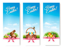 Three banners with Easter backgrounds. Eggs in baskets Royalty Free Stock Image