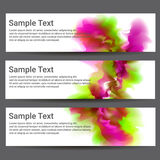 Three banners. Explosion of color on white background. Stock Photography