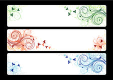 Three banners with Floral vector background Stock Photos
