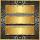 Three banners. Three golden banners on black background Stock Photography