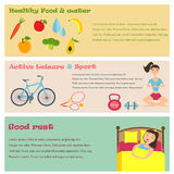Three banners of healthy lifestyle icons. Sport, good nutrition and sleep Royalty Free Illustration