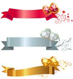 Three banners with jewels. Three ornate banners with hearts with gems Royalty Free Stock Photography