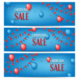 Three banners of Labor Day sale stock illustration