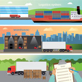 Three banners. On the logistics. It contains a ship with containers and tractor, warehouse racking and forklifts and acceptance of cargo documents Royalty Free Stock Photo