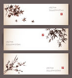 Three banners with maple, bamboo and sakura Royalty Free Stock Photo