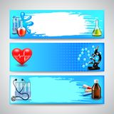 Three medical banners on blue background vector. Three banners with medical objects on blue background vector Royalty Free Stock Photo