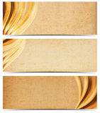 Three Banners with Old Yellowed Paper. Set of three banners or headers with empty old yellowed paper with mold stains and blurred waves royalty free illustration