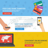 Three banners - online banking. Three vector banners. Concept online banking, money transfer, financial operations. Credit cards, hands with mobile sending money Stock Images