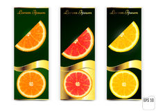 Three banners with oranges and lemon on a white background. Stock Images