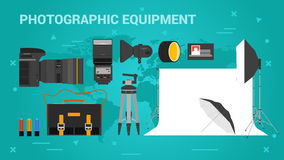 Three banners photographic equpment Stock Images