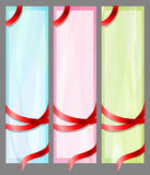 Three banners with ribbons Stock Photos