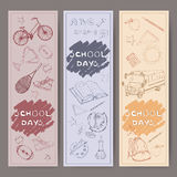 Three banners with school related hand drawn sketches. Stock Image