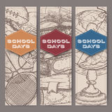 Three banners with school related sketches featuring books, globe, sport . Stock Photo
