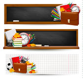 Three banners with school supplies Stock Photo