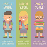 Three banners with schoolchildren with backpacks vector illustration