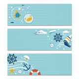 Three banners on the sea theme. Vector set of three horizontal marine banners. Place for the text Stock Image
