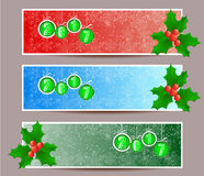 Three banners set for new year and Merry Christmas.  Royalty Free Stock Photo