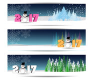 Three banners set for new year and Merry Christmas Stock Images